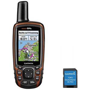 Garmin GPSMap 64s + TOPO Deutschland V8 Pro GPS outdoor en randonnée, en vélo Allemagne GLONASS, GPS, avec cartes topographiques, protection anti-éclaboussures