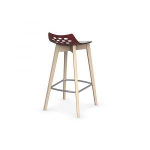 Inside75 Tabouret de bar JAM W rouge transparente avec piétement en bois naturel