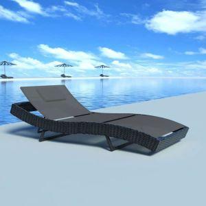 VidaXL Chaise longue rotin textilène noir