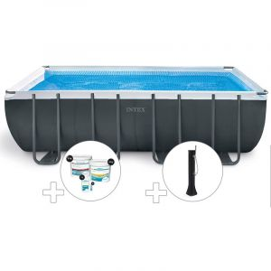 Intex Kit piscine tubulaire Ultra XTR Frame rectangulaire 5,49 x 2,74 x 1,32 m + Kit de traitement au chlore + Douche solaire
