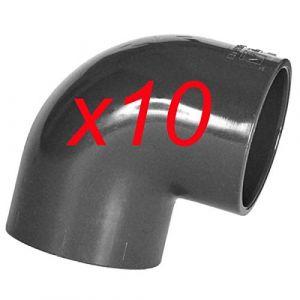 Jardiboutique Lot DE 10 Coudes Angle 90° PVC Pression diametre 50 mm pour raccord Piscine