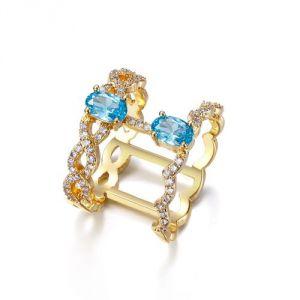Blue Pearls Cry E418 J - Bague en cristal Swarovski et plaqué rhodium