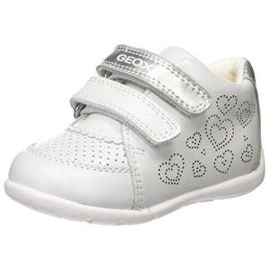 Geox B Kaytan A, Baskets Basses bébé fille, Blanc (White/Silver), 25 EU