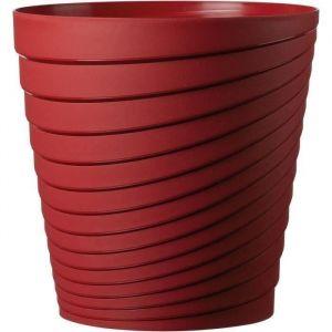 Deroma Pot Slinky Griotte - 25x25x25 - 8,7L - Rouge - Plastique injecté - Résistant au gel - Résistant aux UV - Recyclable - Bouchon préformé