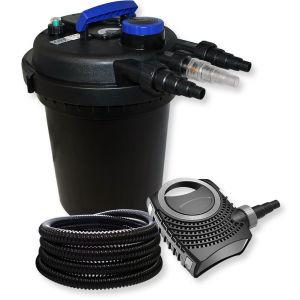 wiltec Kit de Filtration à Pression avec 10000l Filter, UVC Stérilisateur 11W, 70W Pompe et 25m Tuyau