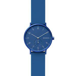 SKAGEN Montre Aaren Kulor pour Femme avec Bracelet en Silicone Bleu, 36 mm - SKW2817