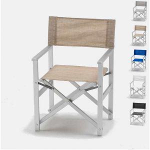 Beach and Garden Design Chaise transat style réalisateur de plage pliante aluminium textilene LUSSO | Beige