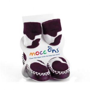 Image de Sock Ons Chaussons semelle cuir - Noir / Blanc - 12-18 mois