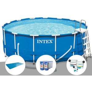 Intex Kit piscine tubulaire Metal Frame ronde 4,57 x 1,22 m + Bâche à bulles + 6 cartouches de filtration + Kit de traitement au chlore
