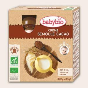 BabyBio Gourde Crème semoule cacao 4 x 90 g - dès 8 mois