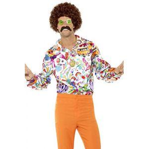 Smiffy's 44910XL Déguisement Homme, Chemise Hippie Cool Années 60 XL Multicolour