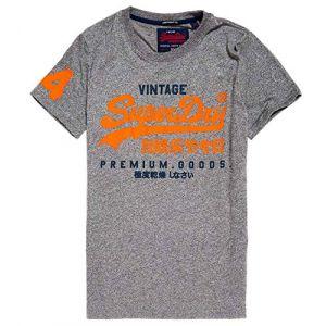 Superdry Premium Goods Duo Lite Tee T-Shirt, Gris (Podium Mid Grey Grit Vs2), Large Homme