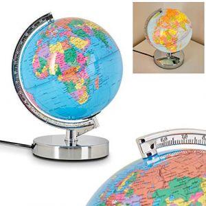 Hofstein Globe terrestre lumineux Globus en métal chromé et plastique avec variateur d'intensité tactile 3 niveaux, requière une ampoule E14 max 30 Watt, idéale pour une chambre d'enfant