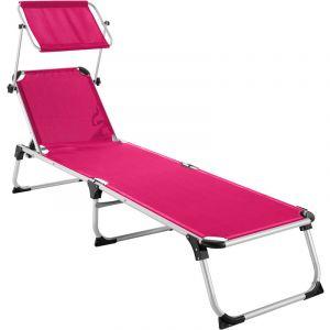 TecTake Transat AURELIE - chaise longue de jardin, bain de soleil, transat de plage - rose vif