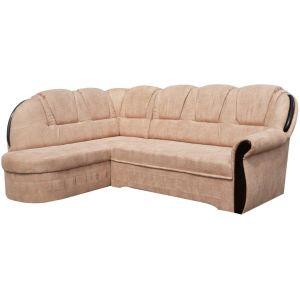 Comforium Canapé d'angle convertible 4 places en tissu beige avec coffre méridienne côté gauche