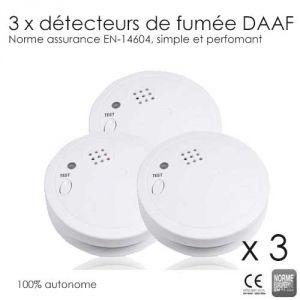 3 détecteurs de fumée (Norme EN-14604)