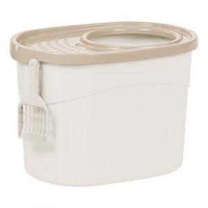 Iris Ohyama Maison de toilette pour chat avec couvercle à trous, entrée par le haut et pelle - Top Entry Cat Litter Box - TECL-20, plastique, blanc, 50,8 x 35,5 x 35,5 cm