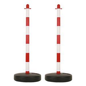 Perel Poteau en plastique pour chaîne de signalisation - rouge/blanc - 2 pcs -