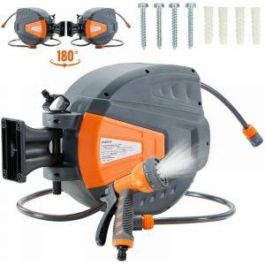 Arebos Enrouleur de tuyau pivotant de 20 m - Avec système d'arrêt - Support mural - Mécanisme enrouleur automatique - Orange