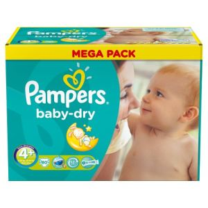 Pampers Baby Dry taille 4+ Maxi Plus 9-20 kg - Mega Pack 80 couches