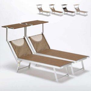 Beach and Garden Design Bain de soleil piscine aluminium transats lits de plage SANTORINI Limited Edition 2 pcs | Moka - Marron Santorini
