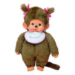 Bandai Monchhichi fille rose avec bavoir 45 cm