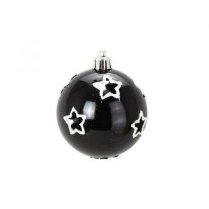 6 boules étoiles noir et argent (6 cm)
