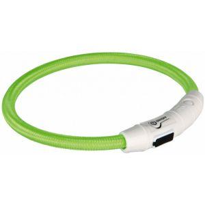 Trixie Flash Anneau lumineux USB XS?S: 35 cm/ø 7 mm vert pour chien - Mode d'éclairage réglable - Matière : TPU et nylon - Piles rechargeables - Couleur : vert.