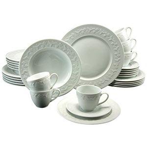 """Creatable Service à vaisselle en porcelaine blanche """"Silvia"""" - 30 pièces"""