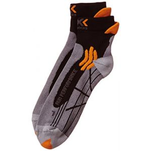 X-Socks Run Performance - Chaussettes de trail - Homme - Multicolore (Gris/Orange/Noir) - Taile: 35-38