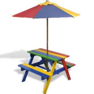 0102011 - Table et bancs en bois avec parasol pour enfant