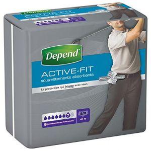 Depend Sous-vêtements Active-Fit - Homme taille S/M - Paquet de 9 x4