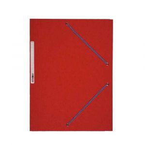 Coutal Chemise 3 rabats à élastique en carte lustrée rigide, 5/10ème, 340g. Coloris Rouge.