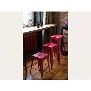 Image de Beliani Chaise de bar - Bar - 46 cm - Rouge et dorée - Cabrillo