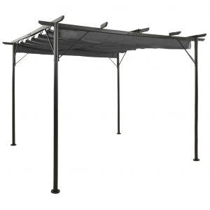 VidaXL Pergola avec toit rétractable Anthracite 3x3 m Acier 180 g/m²