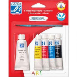 Lefranc & bourgeois Lot de 4 tubes de gouache 10 ML + 1 tube blanc 20Ml + 1 pinceau - COLART