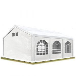 Intent24 Fr Tente de réception 4x6m PE 300 g/m² blanc imperméable barnum, chapiteau