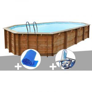 Sunbay Kit piscine bois Sevilla 8,72 x 4,72 x 1,46 m + Bâche à bulles + Kit d'entretien
