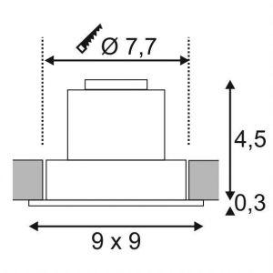 SLV Led plafond new Tria DL Set Spot encastré carré 6,2 W, COB, 2700 K, 38 °C, avec pilote, clip plumes Noir 113880