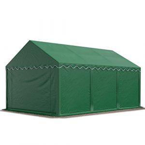 Intent24 Abri / Tente de stockage ECONOMY - 3 x 6 m en vert fonce - toile PVC 500 g/m² imperméable / protection contre les rayons UV (80+) / structure robuste en acier galvanisé.FR