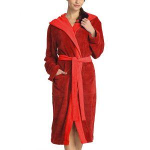 Vossen Peignoir Femme - Poppy - Bademantel - Rouge (purpur 001) - Taille : L