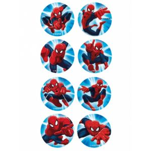 16 mini disques en sucre Spiderman 3,4 cm