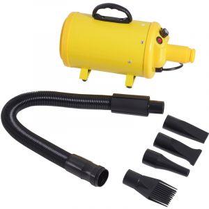 Pawhut Séchoir sèche-poils toilettage professionnel pour chien chat animaux 2400 W température + vitesse réglable 4 embouts jaune