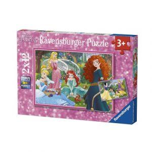 Ravensburger Puzzle 2x12 pièces Dans le monde des princesses Disney -