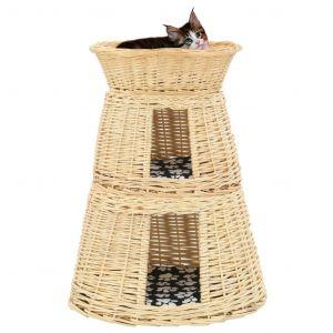 VidaXL Ensemble de panier pour chats 3 pcs avec coussins 47x34x60 cm
