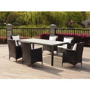 Table de jardin Atlanta en résine tressée avec 6 fauteuils