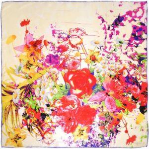 Allée du foulard Carré de soie Premium Prairie fleurie