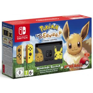 Nintendo Console Switch + Pokemon : Let's Go, Evoli ! Préinstallé + Poké Ball Plus Ed Pikachu et Evoli