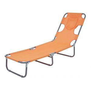 Décoshop26 Transat chaise longue de jardin pliable en tissu orange