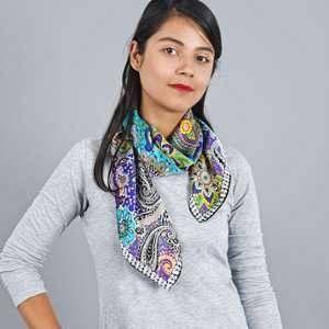 Allée du foulard Carré de soie Premium Cachemire Indie Bleu